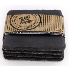 A set of 4 square slate coasters from the Heart Of The Home Range