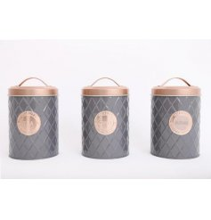 A mix of 3 grey diamond embossed canisters, each complete with a copper lid and printed emblem