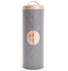 A gorgeous grey diamond embossed storage tin, complete with a copper lid and printed emblem