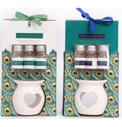 Peacock scented oil burner set - burner and 3 oils, available in 3 different scent options