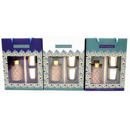 Available in 3 scent options this gift set from the peacock rage includes a pair of scented candles and a reed diffuser