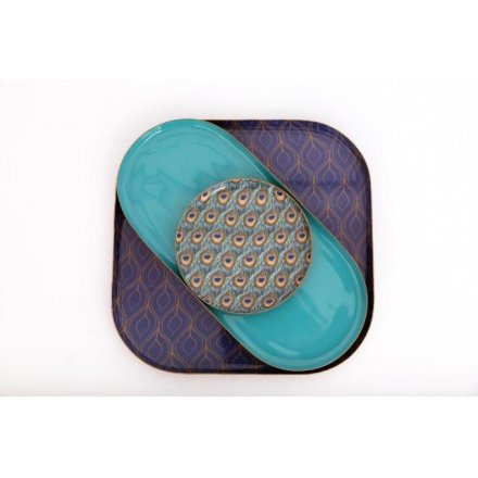 From the Peacock giftware range, a trio of metal plates in different shapes - square, oblong and round