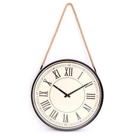 44 cm Traditional Cream Wall Clock Suspended From Rope