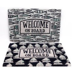 Navy & white door mats printed in sea life inspired designs, approx size 60 x 40 cm