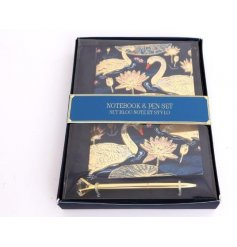 Attractive gift set of A5 swan print note pad with complementary gold pen.
