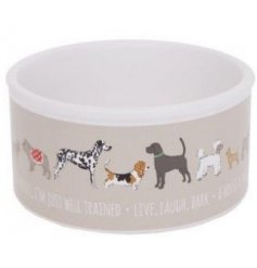 Ceramic dog bowl with dog print design and dog-related slogans. Approx 6.5 x 13 cm