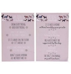 2 designs of wooden plaques listing rules for you and your dog