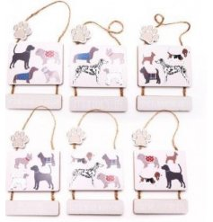 Double wooden plaque hanging decoration with dog pattern motif and dog-themed motto, and paw print accent