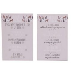2 designs of wooden plaques detailing a cat's rules for life. Approx 30 cm tall