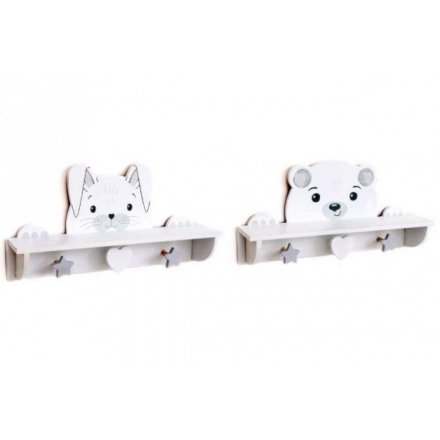 Charming Bunny & Bear themed wall storage, with shelves and hanging hooks. Approx 39.5 cm long