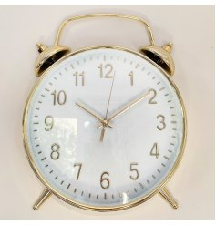 Whimsical wall clock styled to resemble an old fashioned alarm clock. Approx size 38 cm