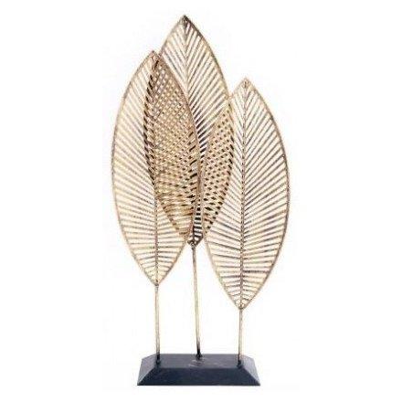 50 cm Upright Golden Leaf Trio Ornament