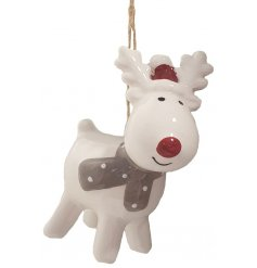 A small hanging ceramic reindeer complete with a beige scarf and cute Santas Hat