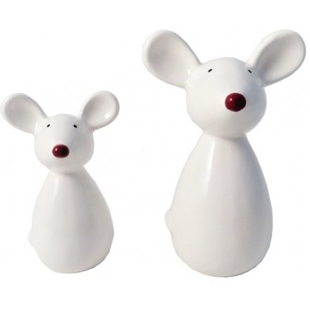 A cute little standing ceramic mouse with a festive red nose