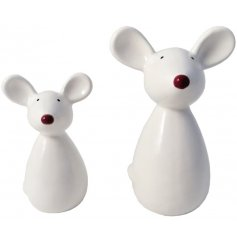 A nordic inspired white ceramic mouse decoration with a red nose and pointed ears.