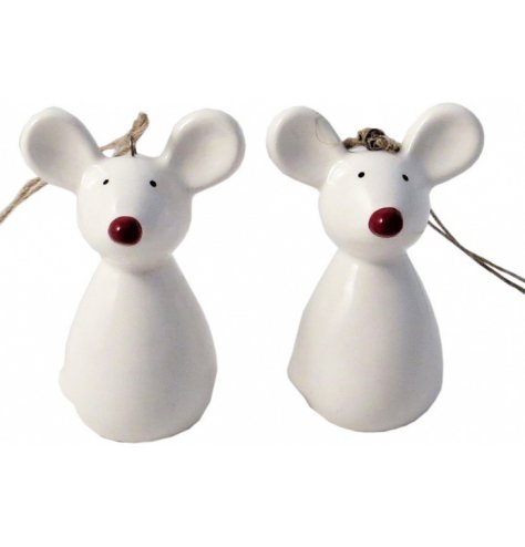 An assortment of 2 contemporary and cute Christmas mice decorations, complete with rustic string hangers.