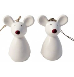 A cute little hanging ceramic mouse with a festive red nose