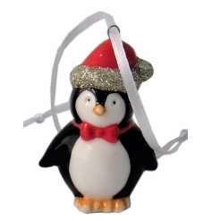 this small ceramic penguin hanging decoration will be sure to add some sparkle to any christmas tree