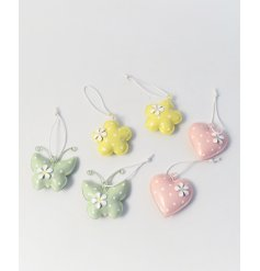 Delightful set of 6 metal hanging decorations with a Spring theme - pastel flower, butterfly & heart