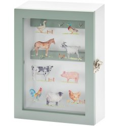 Decorated Country Life Farm wooden key cabinet stores up to 6 bunches of keys.