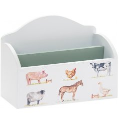 Two compartment wooden letter rack from Country Life Farm range, embellished with familiar livestock animals.