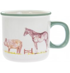 Ceramic mug from the Country Life Farm range, decorated with farmyard animals
