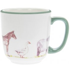Set of 2 ceramic mugs from country life farm range, decorated with farmyard animals.