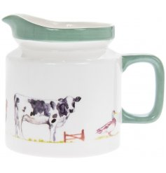 From the Country Life Farm range of kitchenware, this classic ceramic jug is decorated with images of farm livestock