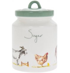 Ceramic sugar storage container from the Country Life Farm range of kitchenware