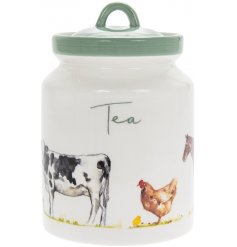 Practical ceramic tea caddy embellished with farmyard animals, part of the Country Life Farm range