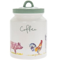 Durable ceramic coffee cannister, part of the Country Life Farm range, matching tea and sugar containers available.