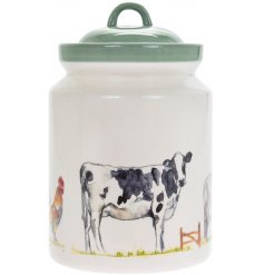 Ceramic biscuit storage cannister, part of the Country Life Farm range.