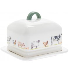 Classic ceramic butter dish from Country Life Farm range