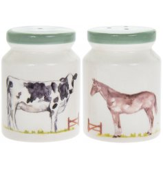 Attractive salt / pepper pots, decorated with images of farm animals, from Country Life Farm range