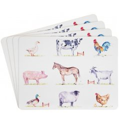 4 Country Life Farm Placemats decorated with farmyard animals