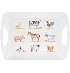 45 cm plastic tray embellished with watercolour farm animal designs