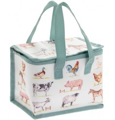 Insulated lunch bag decorated with watercolour farmyard animal images.