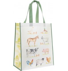 Attractive fabric shopper bag decorated with farm animal print, part of the Country Life Farm range