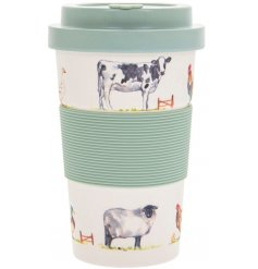 Practical bamboo travel mug, the eco friendly choice, printed with images of farmyard livestock. Approx size 14 x 9 cm