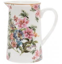 Covered with a delicate Lily and Rose flower pattern, this fine china jug will be sure to add a vintage charm to any ki
