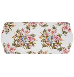 A medium sized serving tray featuring a beautiful Lily Rose decal