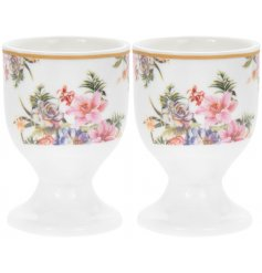 this set of Fine China Egg Cups will be sure to bring a Vintage charm to any kitchen work top