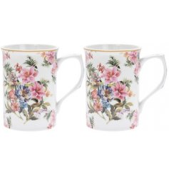 this set of 2 fine china mugs will be sure to add a vintage charm to any kitchen