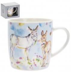 A Fine China Mug featuring a beautiful Watercolour Donkey print decal