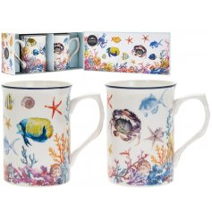 Bring a Whimsical Underwater feel to your kitchen or Dining Room with this stylishly printed set of Fine China Mugs