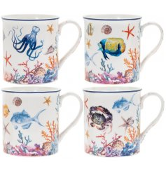 Bring a Whimsical Underwater feel to your kitchen with this stylishly printed set of mugs