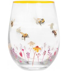 Stemless Glass decorated with Busy Bee Garden design