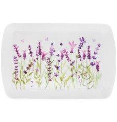 Small Lavender print plastic tray 24 x 16 cm