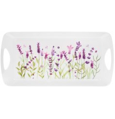 Medium size plastic tray with lavender garden print