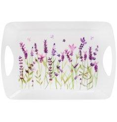 Large lavender print plastic tray 45 x 32 cm